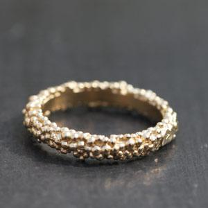 Light gold vermeil balls ring.