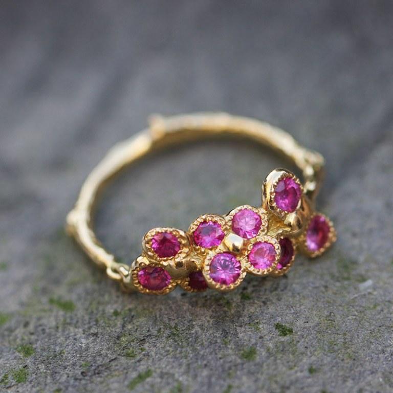 Flower Pink Sapphire Ring