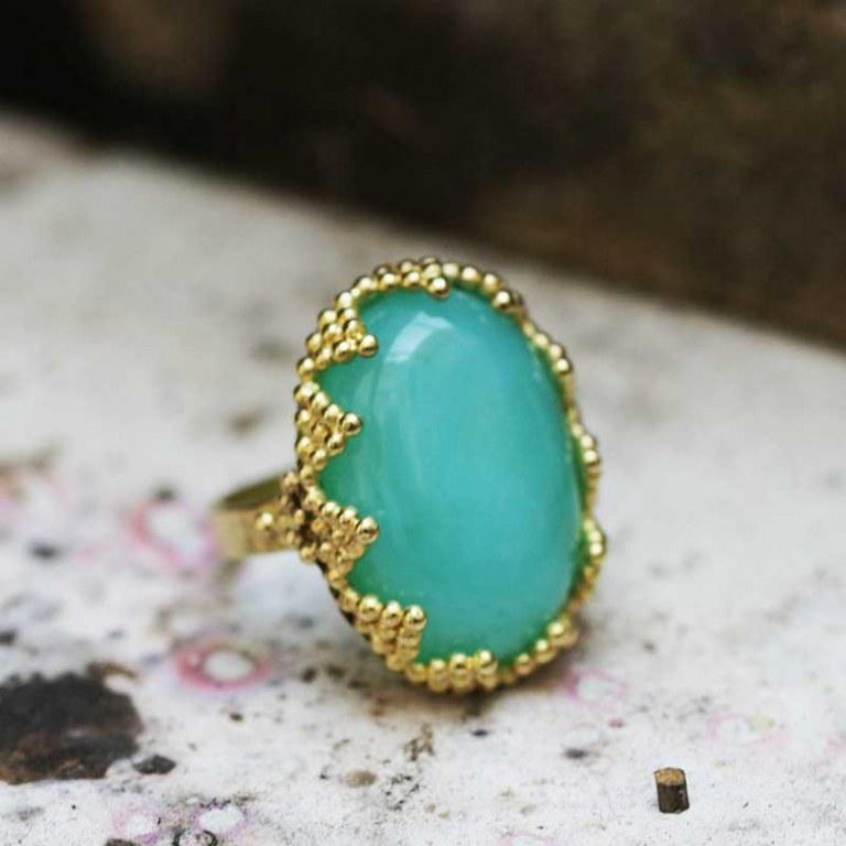 Bague Opale Bleue