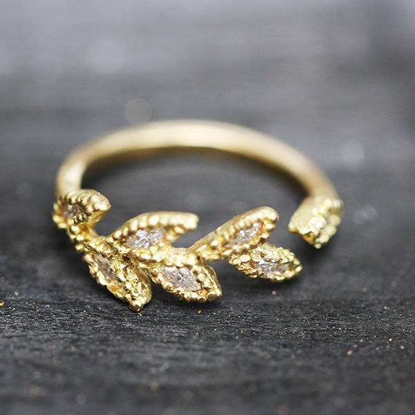 Diamonds Wheat Heads Ring