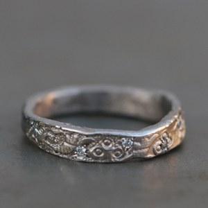 Alliance Or Gris Diamants